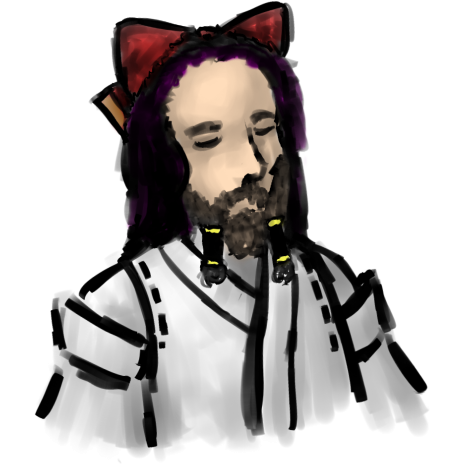 Richard Stallman cosplaying as a shrine maiden